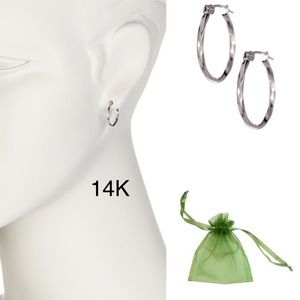 White 14K white solid gold hoops